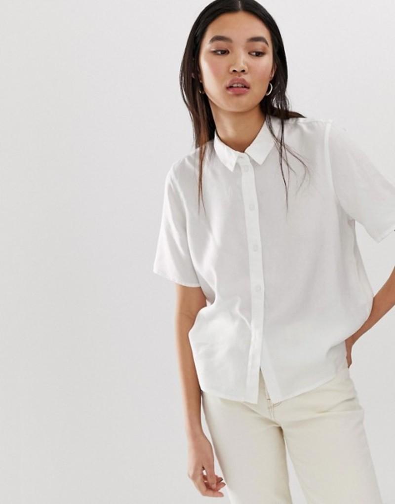 セレクティッド レディース シャツ トップス Selected Femme short sleeve shirt White