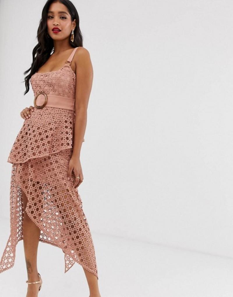 エイソス レディース ワンピース トップス ASOS DESIGN midi dress with square neckline and belt in basket weave lace Pink