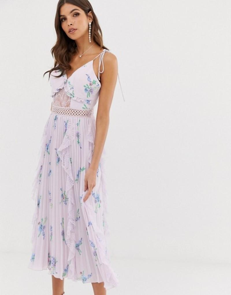 トゥルーデカデンス レディース ワンピース トップス True Decadence premium cami dress with ruffle and pleated skirt in WATERCOLOR floral Lilac watercolour