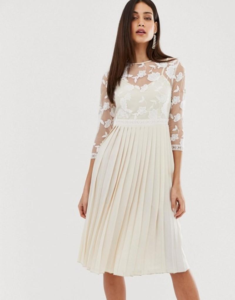 リトルミストレス レディース ワンピース トップス Little Mistress lace embroidered top midi dress in cream Buttercup