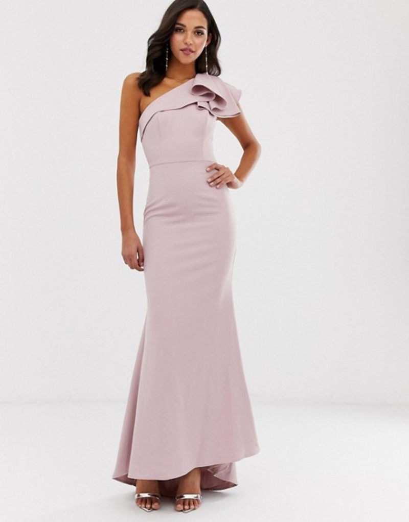 ジャーロ レディース ワンピース トップス Jarlo one shoulder maxi dress with ruffle sleeve in pink Pink
