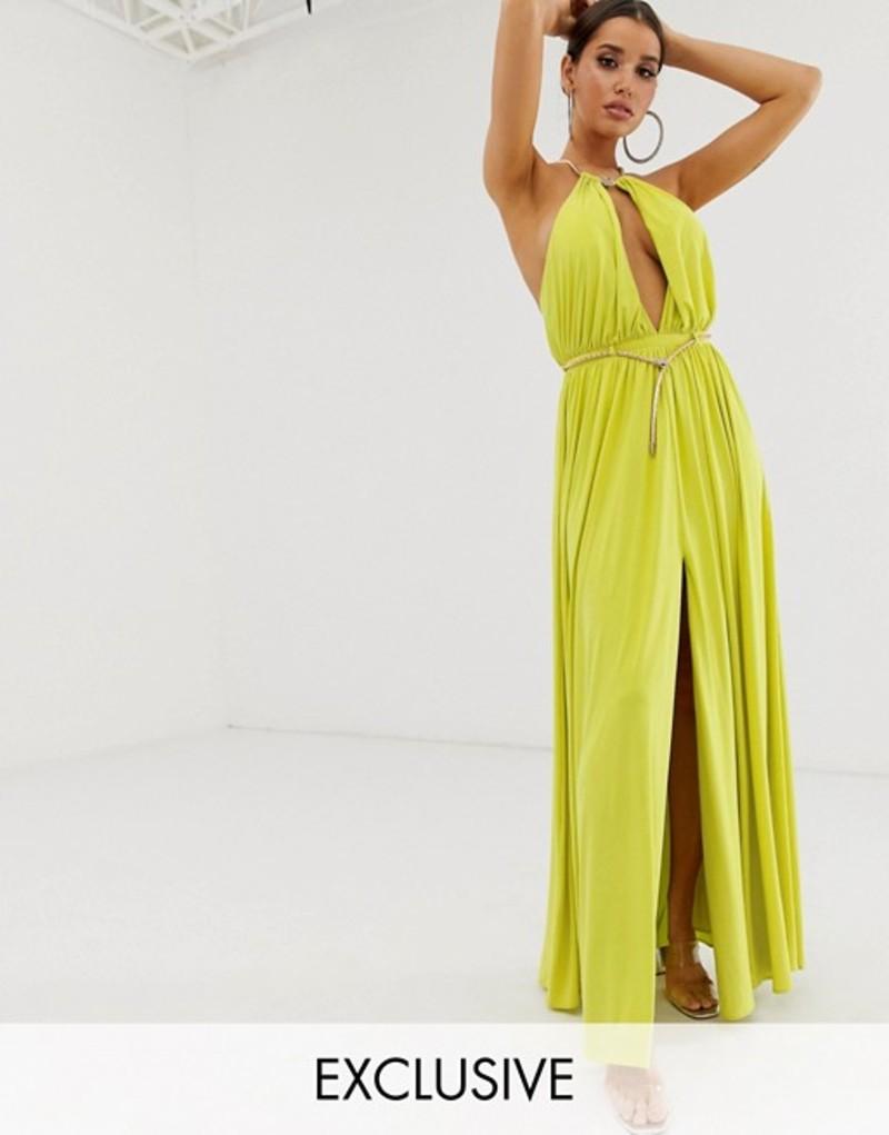 フォーエバーユニーク レディース ワンピース トップス Forever Unique Exclusive slinky gown with hardware detail in lime Lime