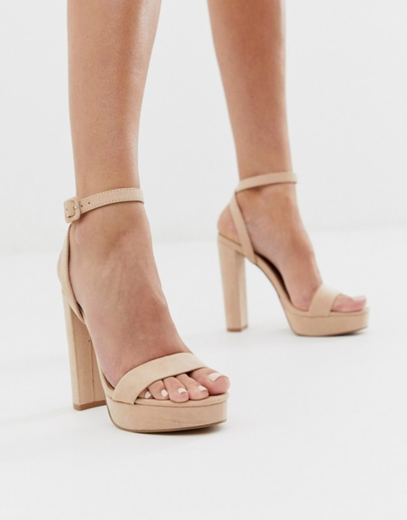 エイソス レディース ヒール シューズ ASOS DESIGN Nutshell platform barely there heeled sandals in beige Beige