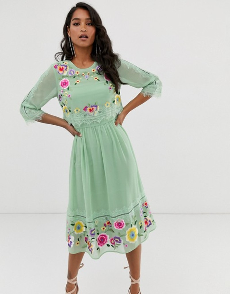エイソス レディース ワンピース トップス ASOS DESIGN double layer embroidered midi dress Sage green