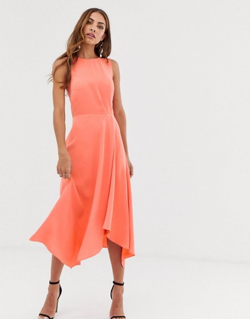 ウエアハウス レディース ワンピース トップス Warehouse midi dress with tie back in coral Red