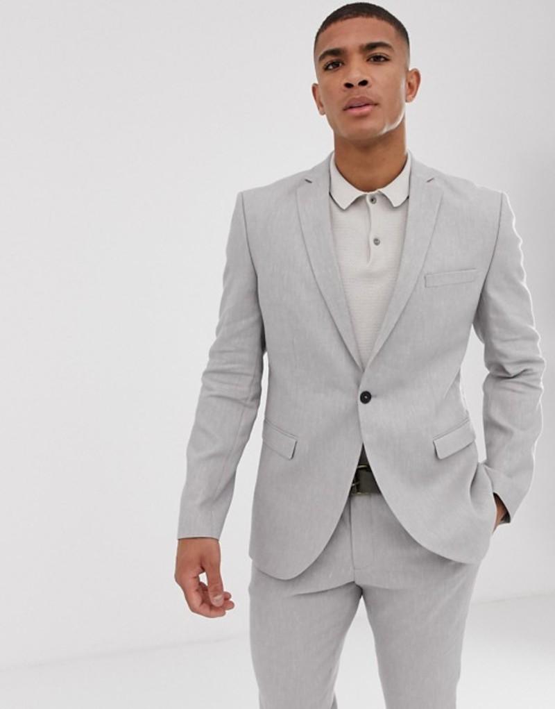 セレクテッドオム メンズ ジャケット・ブルゾン アウター Selected Homme slim suit jacket in sand linen stretch Light grey melange