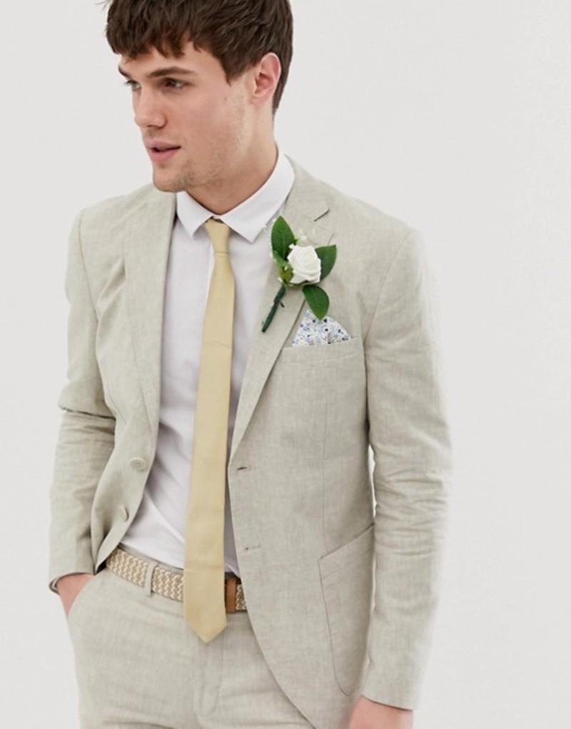 ジャック アンド ジョーンズ メンズ ジャケット・ブルゾン アウター Jack & Jones Premium regular fit suit jacket in beige linen White pepper