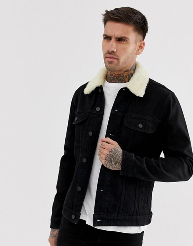 エイソス メンズ ジャケット・ブルゾン アウター ASOS DESIGN denim jacket with detachable fleece collar in black Black