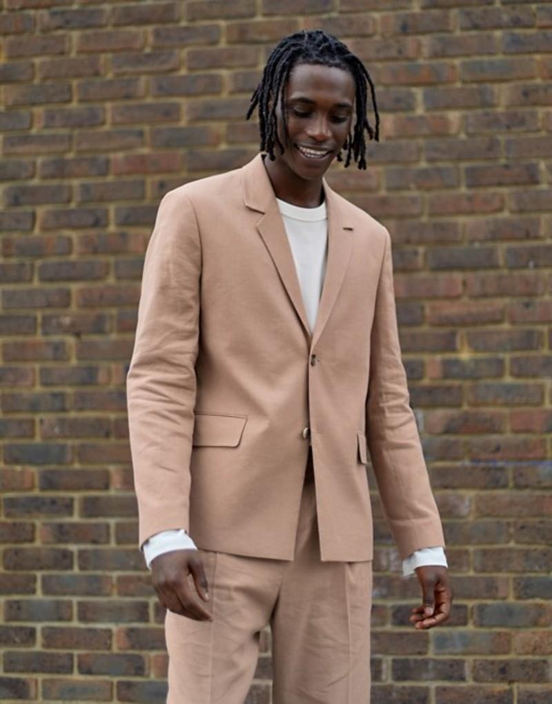 エイソス メンズ ジャケット・ブルゾン アウター ASOS WHITE boxy blazer in beige linen Nougat