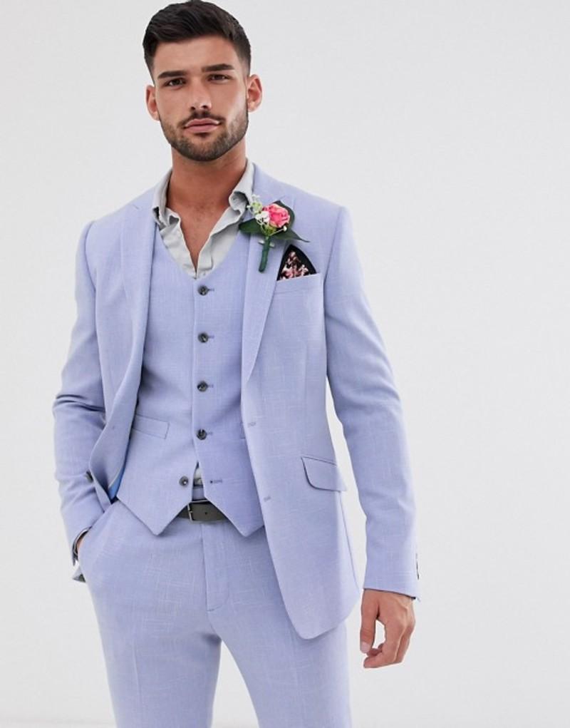 エイソス メンズ ジャケット・ブルゾン アウター ASOS DESIGN wedding skinny suit jacket in lilac cross hatch Lilac