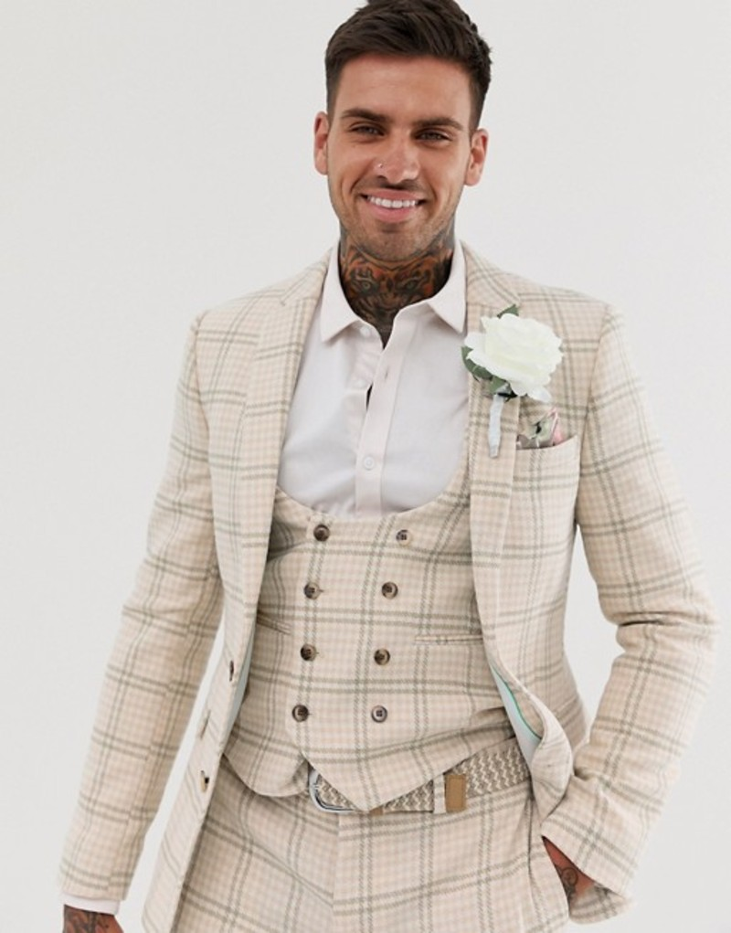 エイソス メンズ ジャケット・ブルゾン アウター ASOS DESIGN wedding super skinny suit jacket in cream wool blend houndstooth Beige