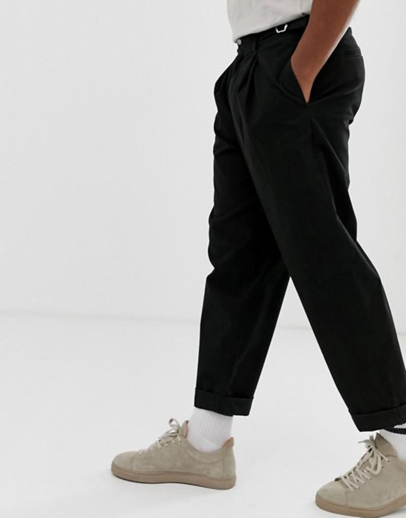 エイソス メンズ カジュアルパンツ ボトムス ASOS DESIGN balloon pants in black Black