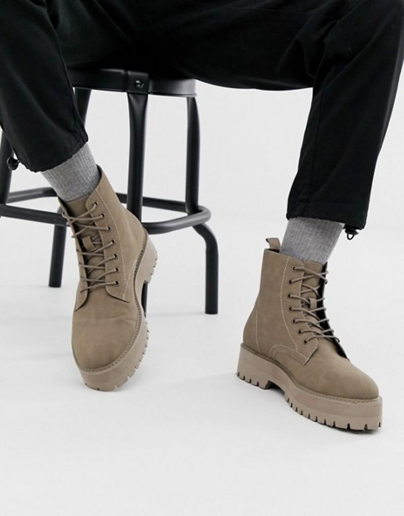 エイソス メンズ ブーツ・レインブーツ シューズ ASOS DESIGN lace up boot in stone faux suede with raised chunky sole Stone