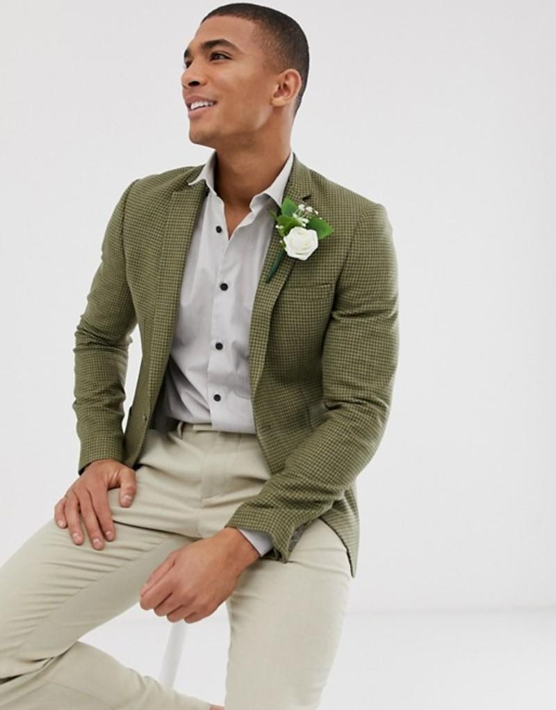 エイソス メンズ ジャケット・ブルゾン アウター ASOS DESIGN wedding super skinny blazer with wool mix micro check in green Green