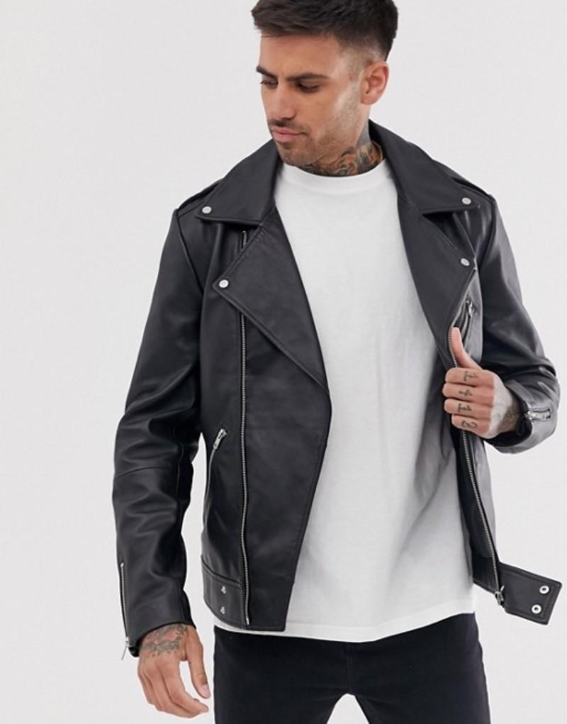 エイソス メンズ ジャケット・ブルゾン アウター ASOS DESIGN leather biker jacket in black Black