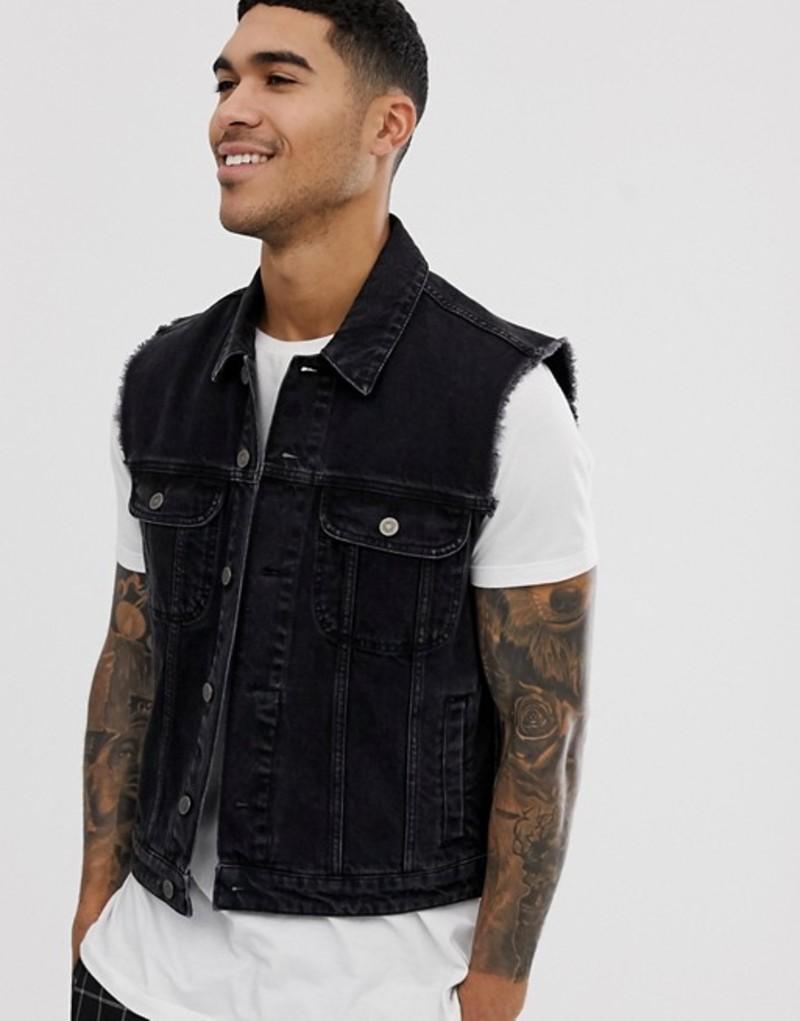 エイソス メンズ ジャケット・ブルゾン アウター ASOS DESIGN sleeveless denim jacket in black Black