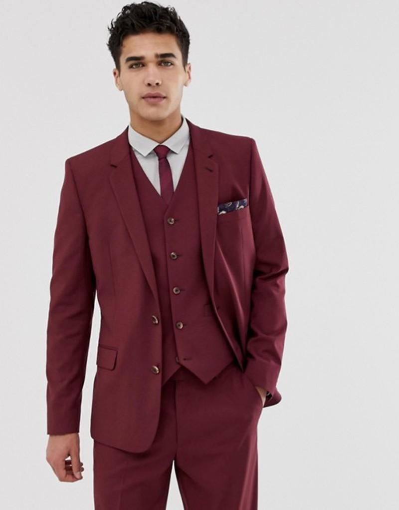 エイソス メンズ ジャケット・ブルゾン アウター ASOS DESIGN skinny suit jacket in burgundy Burgundy