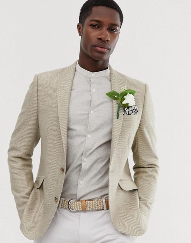 エイソス メンズ ジャケット・ブルゾン アウター ASOS DESIGN wedding skinny blazer with wool mix wide herringbone in stone White