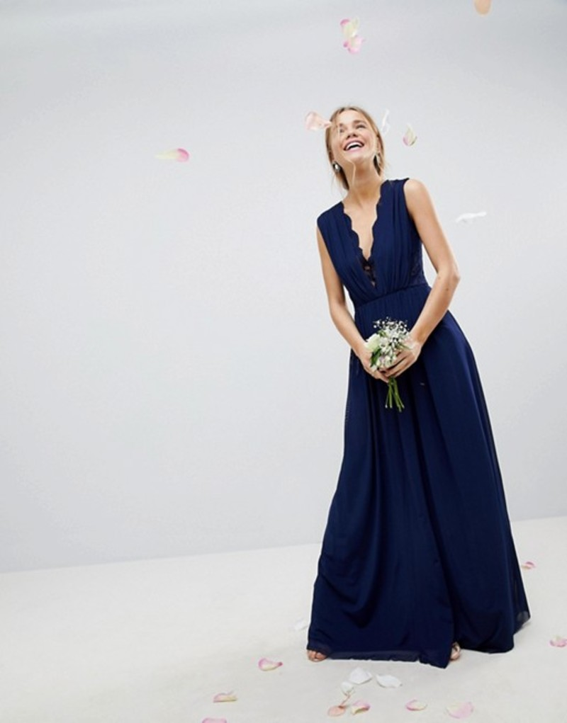 エイソス レディース ワンピース トップス ASOS DESIGN Bridesmaid maxi dress with lace insert Navy