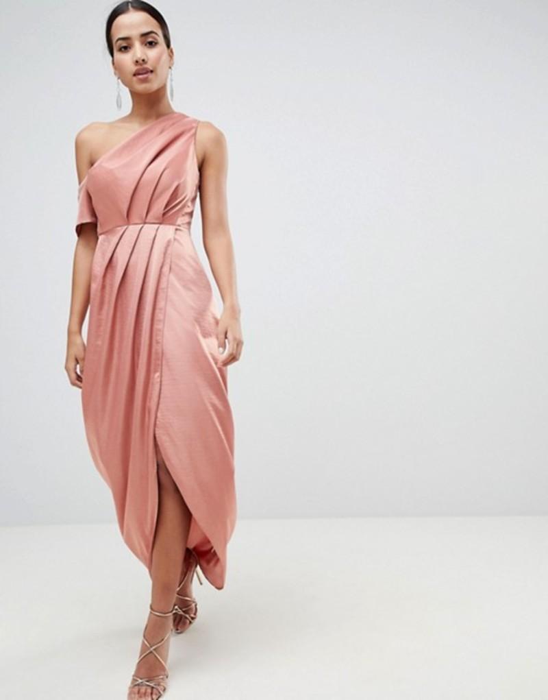 エイソス レディース ワンピース トップス ASOS Hammered Satin One Shoulder Maxi Dress Dusty rose