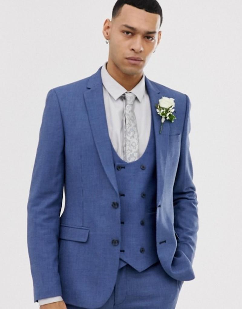 エイソス メンズ ジャケット・ブルゾン アウター ASOS DESIGN wedding super skinny suit jacket in micro texture in mid blue Mid blue