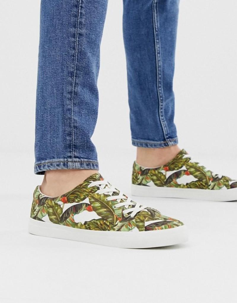 エイソス メンズ スニーカー シューズ ASOS DESIGN sneakers in tropical leaf print Stone