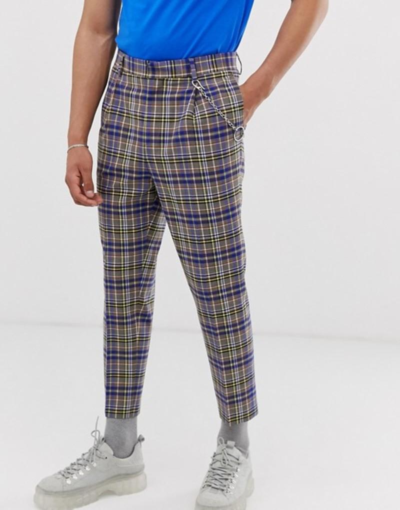 エイソス メンズ カジュアルパンツ ボトムス ASOS DESIGN tapered crop smart pants in gray and blue check with metalwork Grey