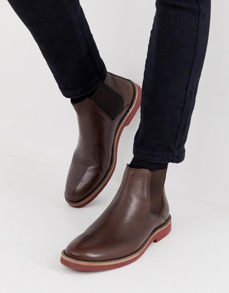 エイソス メンズ ブーツ・レインブーツ シューズ ASOS DESIGN chelsea boots in brown leather with contrast sole Brown