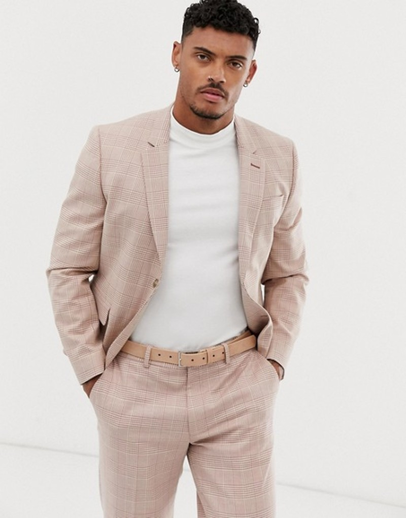 エイソス メンズ ジャケット・ブルゾン アウター ASOS DESIGN skinny crop suit jacket in cream linen check Cream