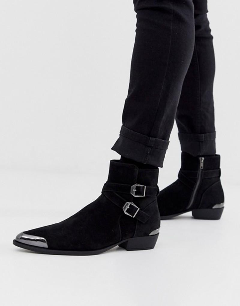 エイソス メンズ ブーツ・レインブーツ シューズ ASOS DESIGN stacked heel western chelsea boots in faux black suede with buckle detail Black