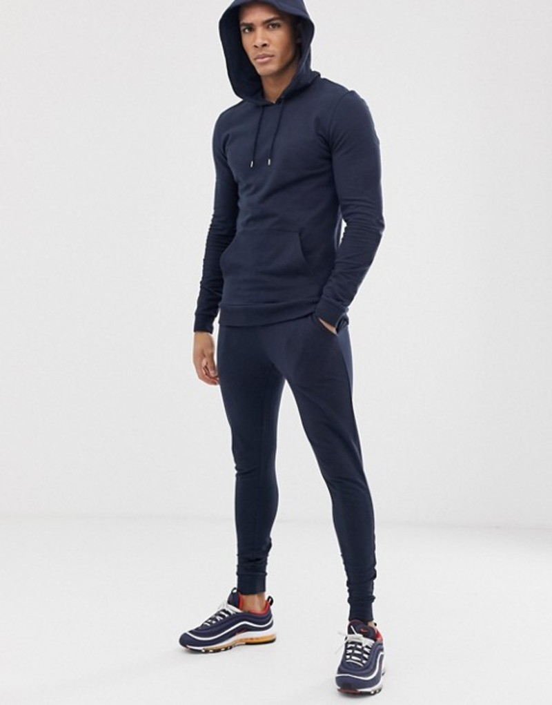 エイソス メンズ パーカー・スウェット アウター ASOS DESIGN tracksuit extreme super skinny sweatpants/muscle hoodie in navy Navy