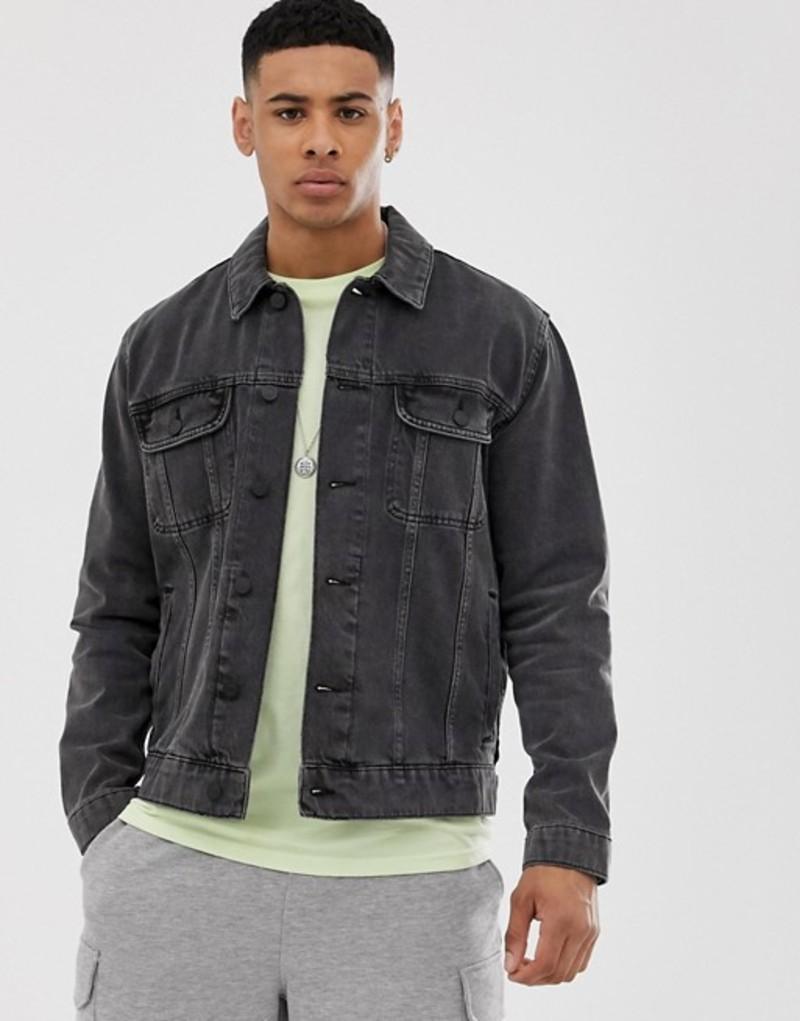 エイソス メンズ ジャケット・ブルゾン アウター ASOS DESIGN oversized denim jacket in washed black Washed black