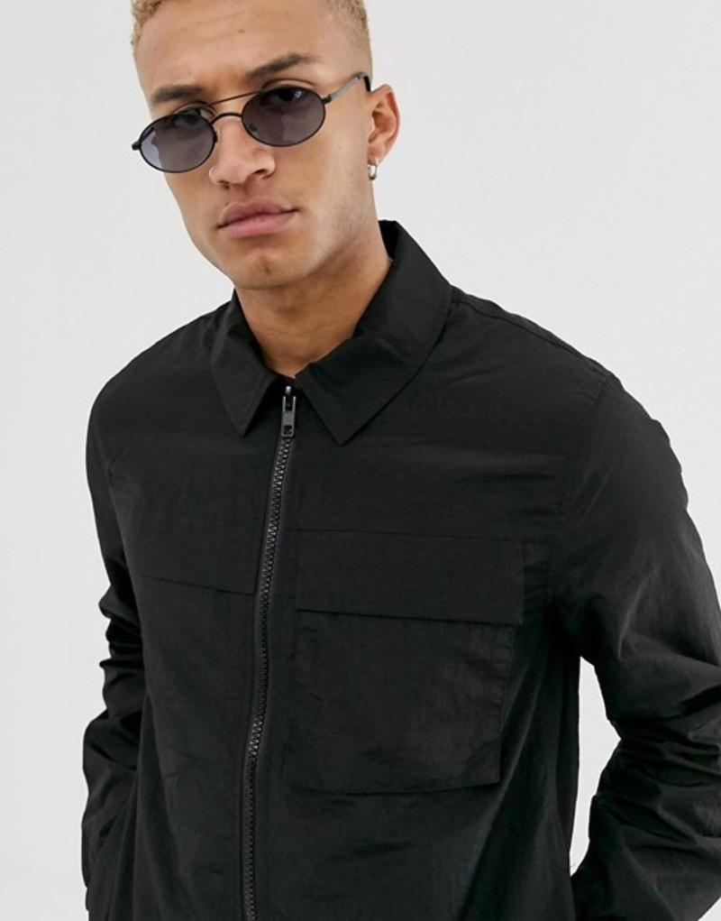 エイソス メンズ ジャケット・ブルゾン アウター ASOS DESIGN utility jacket in black Black