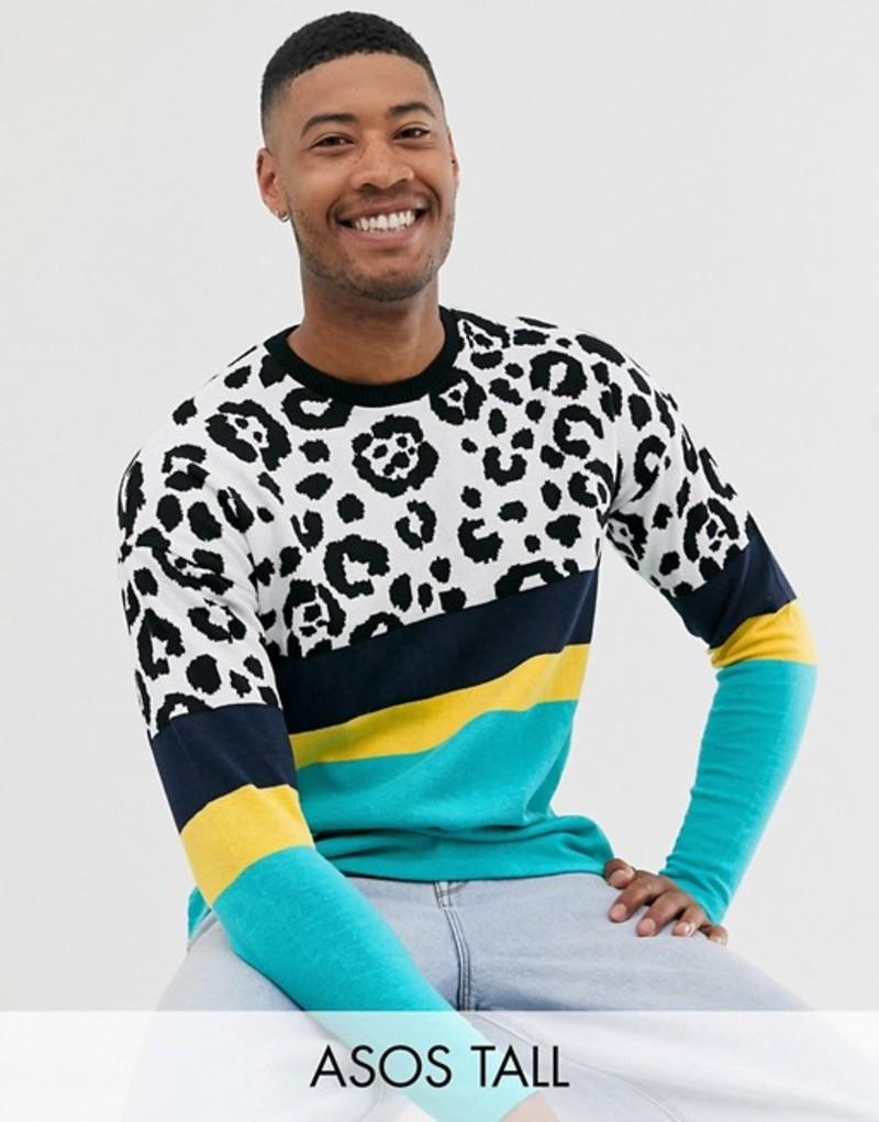 エイソス メンズ Tシャツ トップス ASOS DESIGN Tall knitted t-shirt in color blocked animal Green
