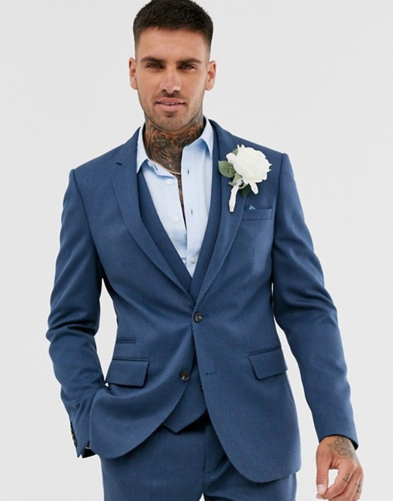 エイソス メンズ ジャケット・ブルゾン アウター ASOS DESIGN wedding skinny suit jacket in petrol blue twill Blue