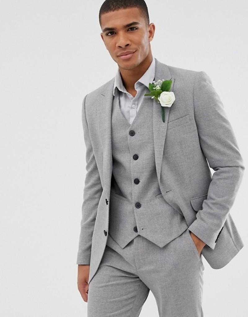 エイソス メンズ ジャケット・ブルゾン アウター ASOS DESIGN wedding skinny suit jacket in gray twist micro texture Grey