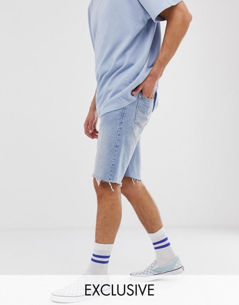 リクレイム ヴィンテージ メンズ ハーフパンツ・ショーツ ボトムス Reclaimed Vintage inspired denim shorts with raw hem in blue Blue