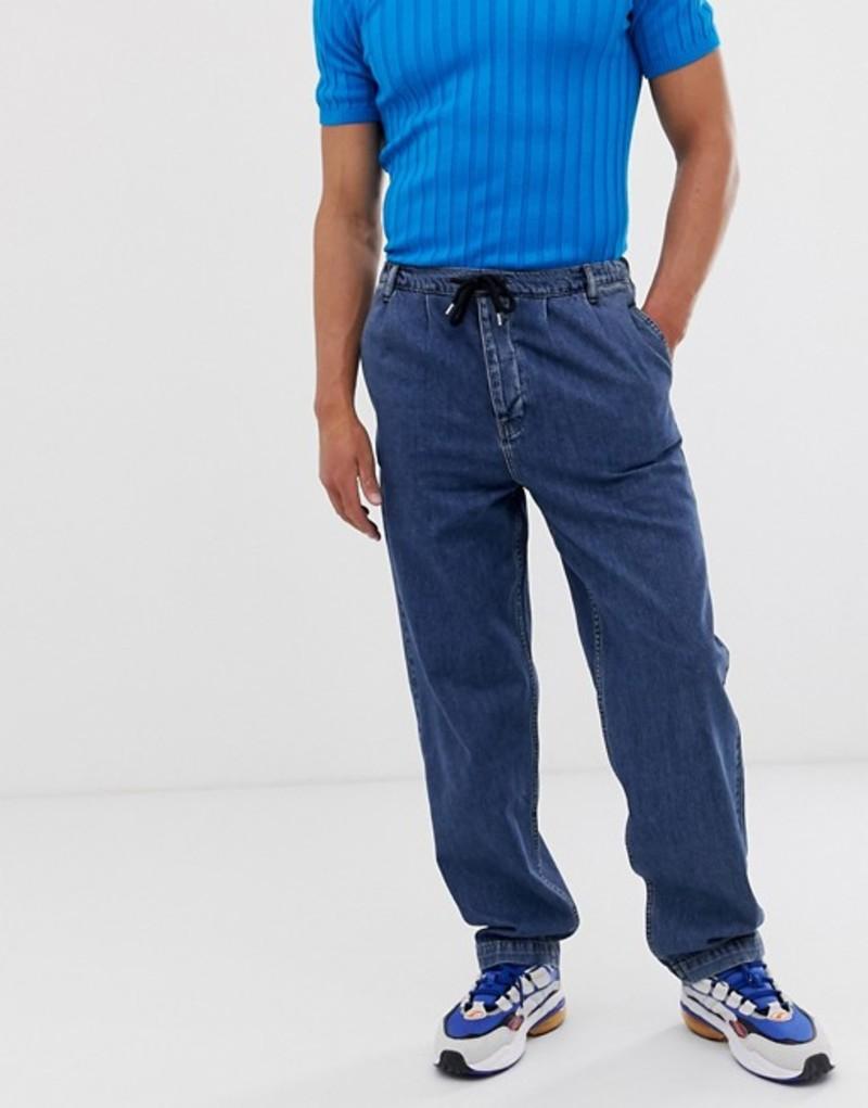 エイソス メンズ デニムパンツ ボトムス ASOS DESIGN high waisted jeans with elasticated waist in dark wash blue Dark wash blue