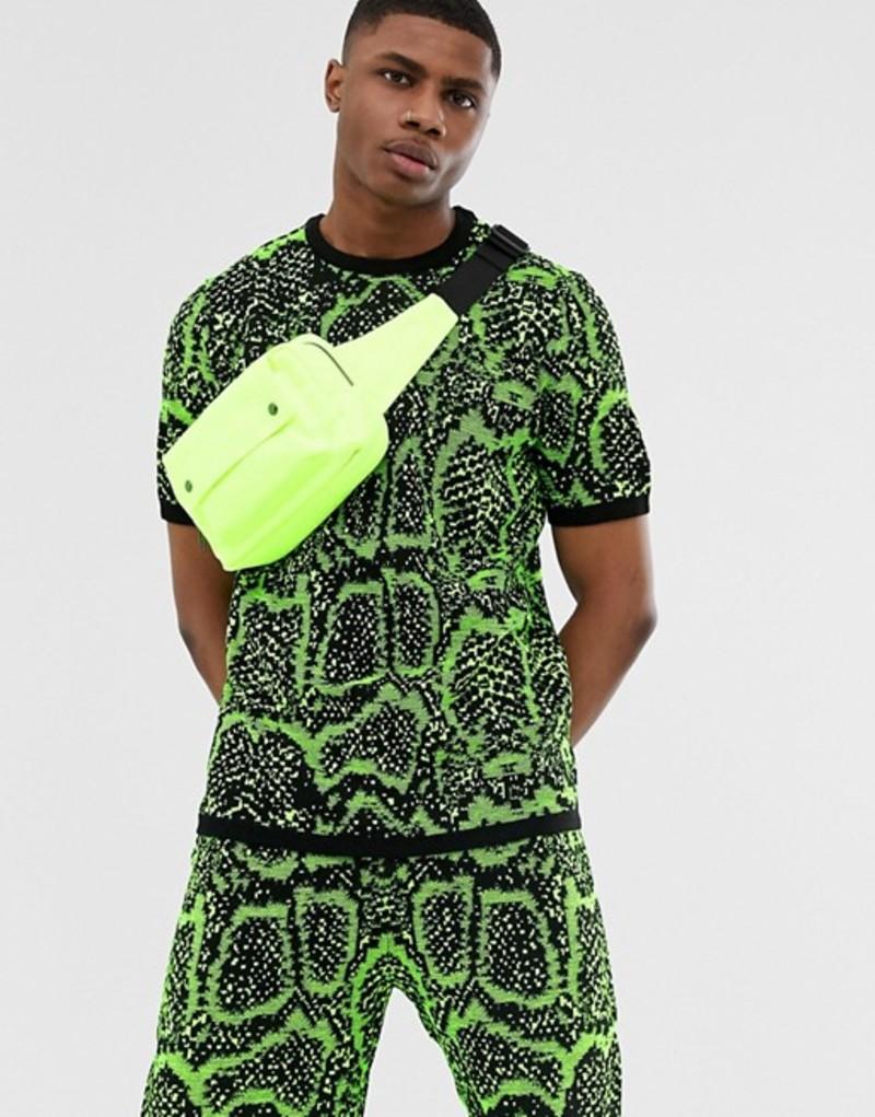 エイソス メンズ Tシャツ トップス ASOS DESIGN Two-Piece knitted t-shirt in neon snake design Green