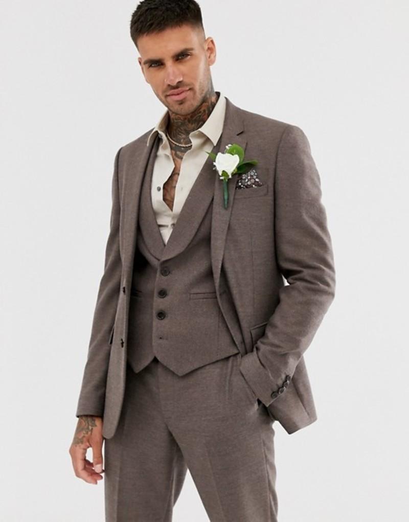 エイソス メンズ ジャケット・ブルゾン アウター ASOS DESIGN wedding skinny suit jacket in soft brown twill Brown