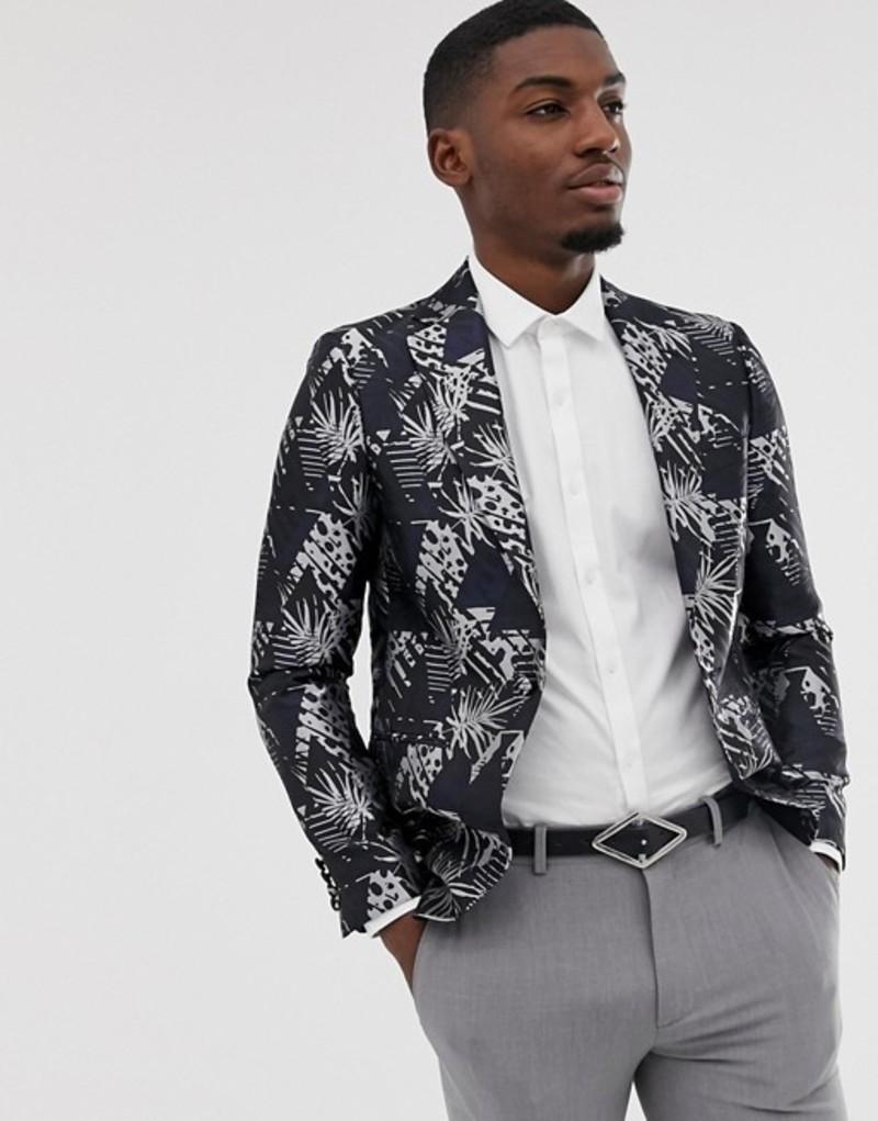 モス ブラザーズ メンズ ジャケット・ブルゾン アウター Moss London slim blazer with monochrome palm jacquard in black Black