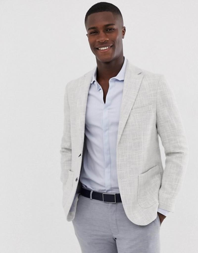 モス ブラザーズ メンズ ジャケット・ブルゾン アウター Moss London slim blazer in light gray texture Grey