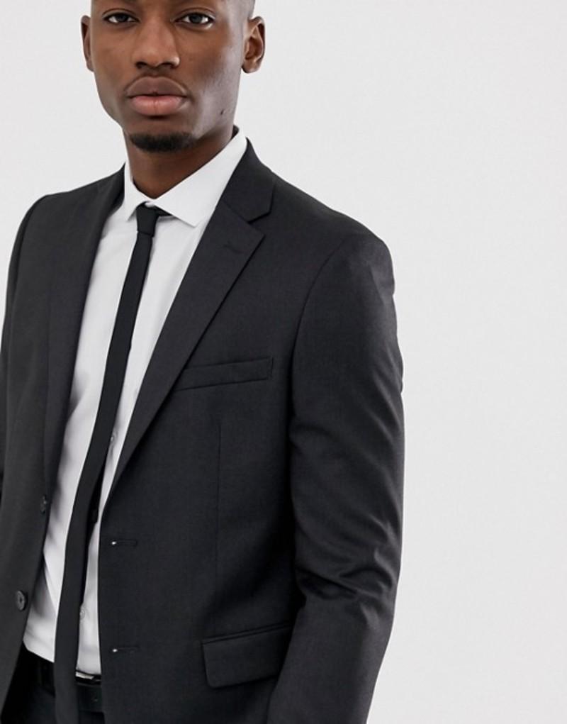 モス ブラザーズ メンズ ジャケット・ブルゾン アウター Moss London slim stretch suit jacket in charcoal Charcoal
