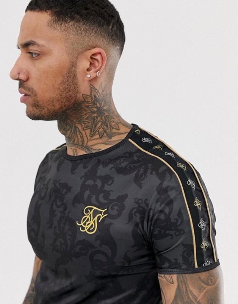 シックシルク メンズ Tシャツ トップス SikSilk t-shirt in black print with side stripe Black