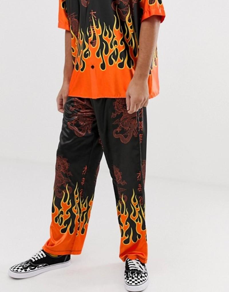 ジェーデッド メンズ カジュアルパンツ ボトムス Jaded London festival two-piece pants in black with flame print Black