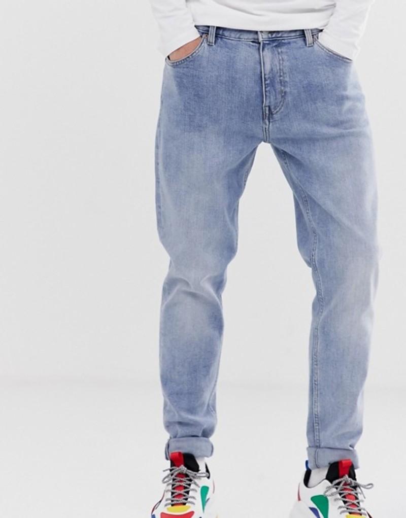 ウィークデイ メンズ デニムパンツ ボトムス Weekday Cone slim tapered jeans in blue Bleecker blue
