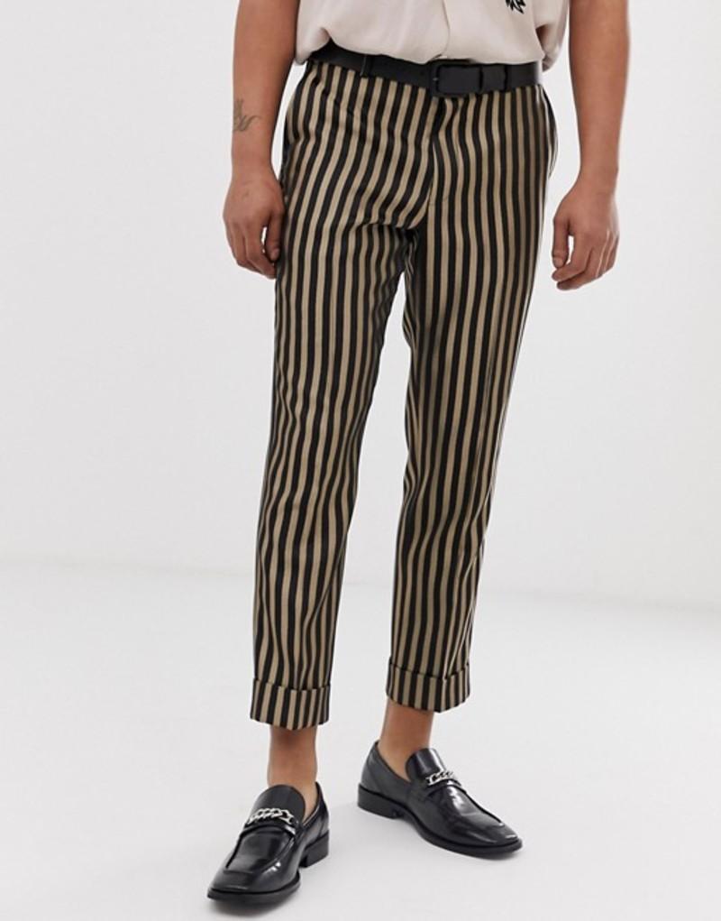 ハートアンドダガー メンズ カジュアルパンツ ボトムス Heart & Dagger slim fit smart pants in stone stripe Stone