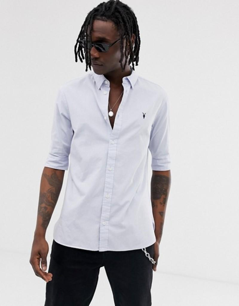 オールセインツ メンズ シャツ トップス AllSaints short sleeve poplin shirt in light blue Light blue