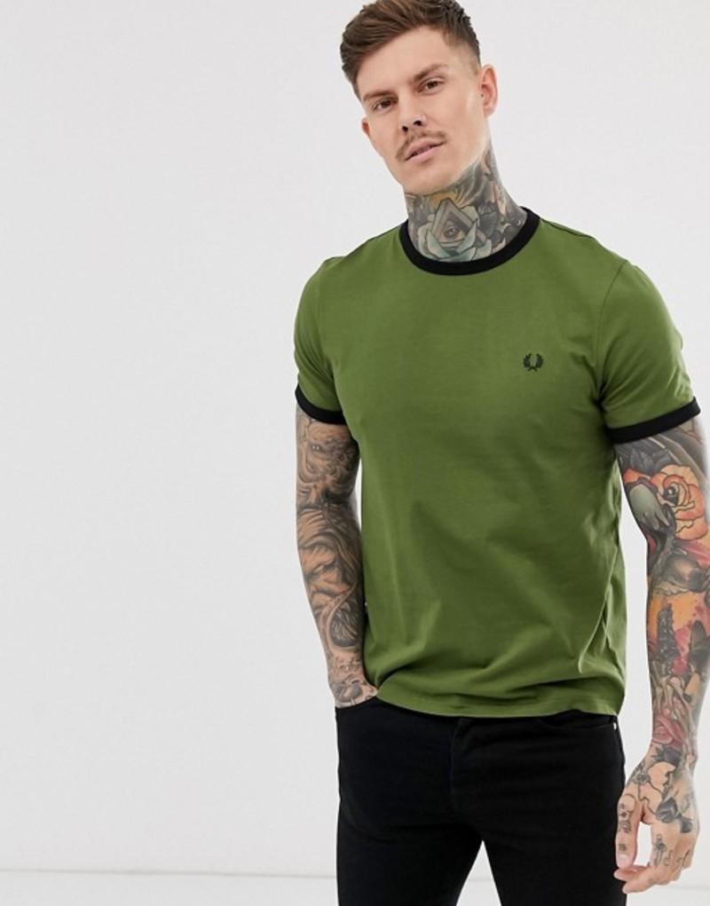 フレッドペリー メンズ Tシャツ トップス Fred Perry ringer t-shirt in khaki Kahki