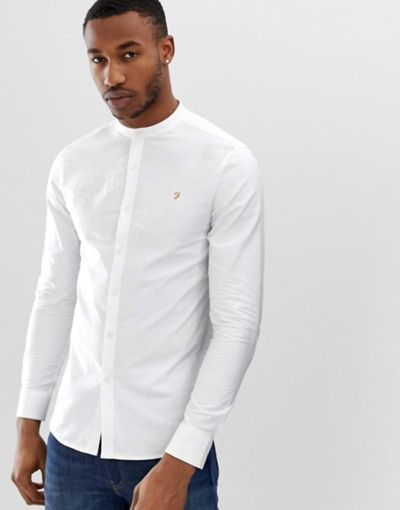ファーラー メンズ シャツ トップス Farah Brewer slim fit grandad collar shirt in white White